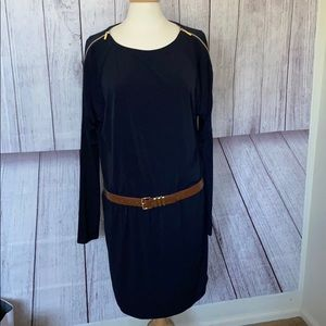 Michael Kors navy blue dress gold trim size Large